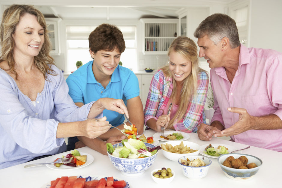 Family enjoying meal at home